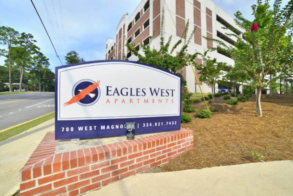 Exterior front sign at Eagles West Apartments