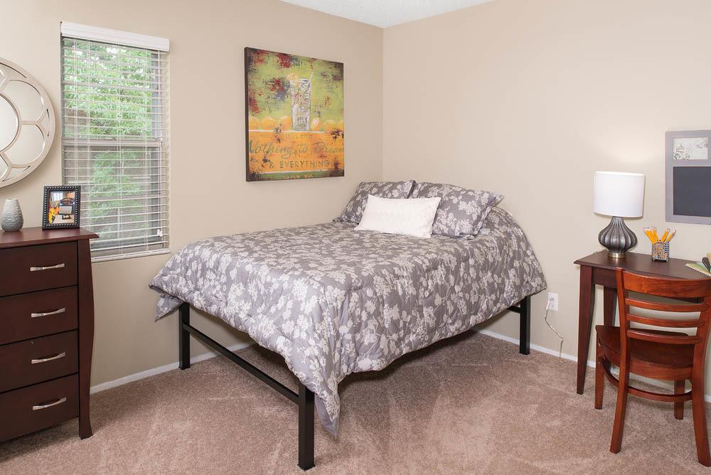 Bright bedroom at University Village in Carbondale