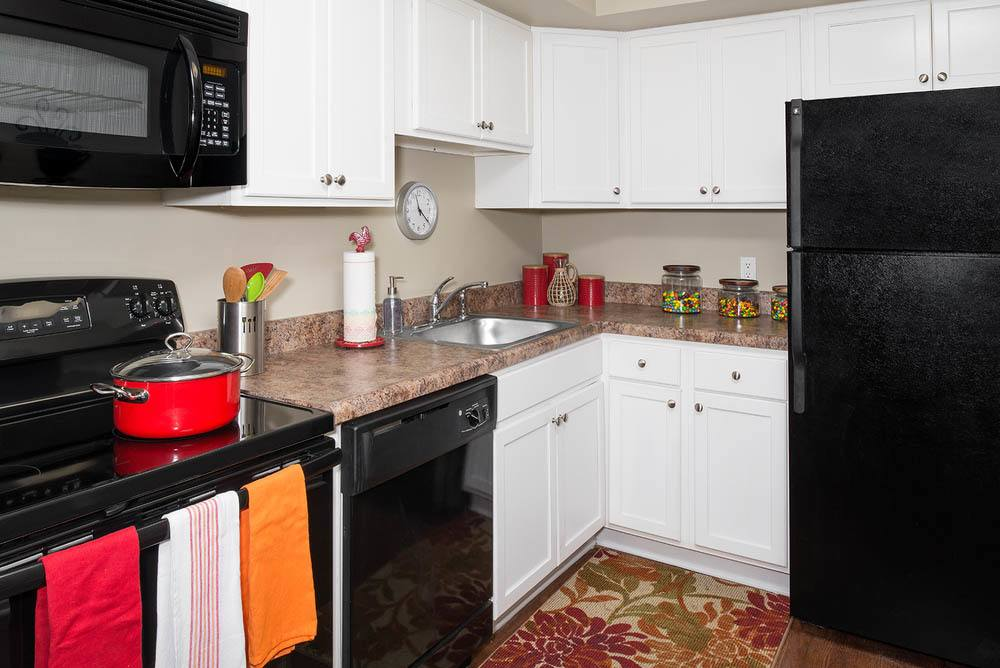 Kitchen features plenty of storage at apartments in Carbondale