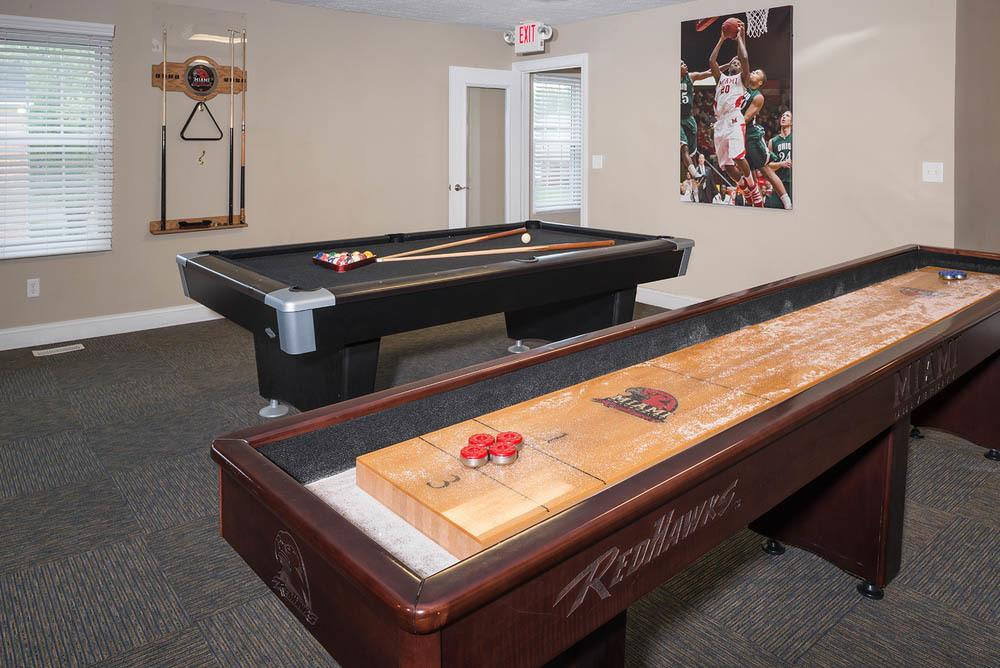 Games in the community center at Apartments in Oxford