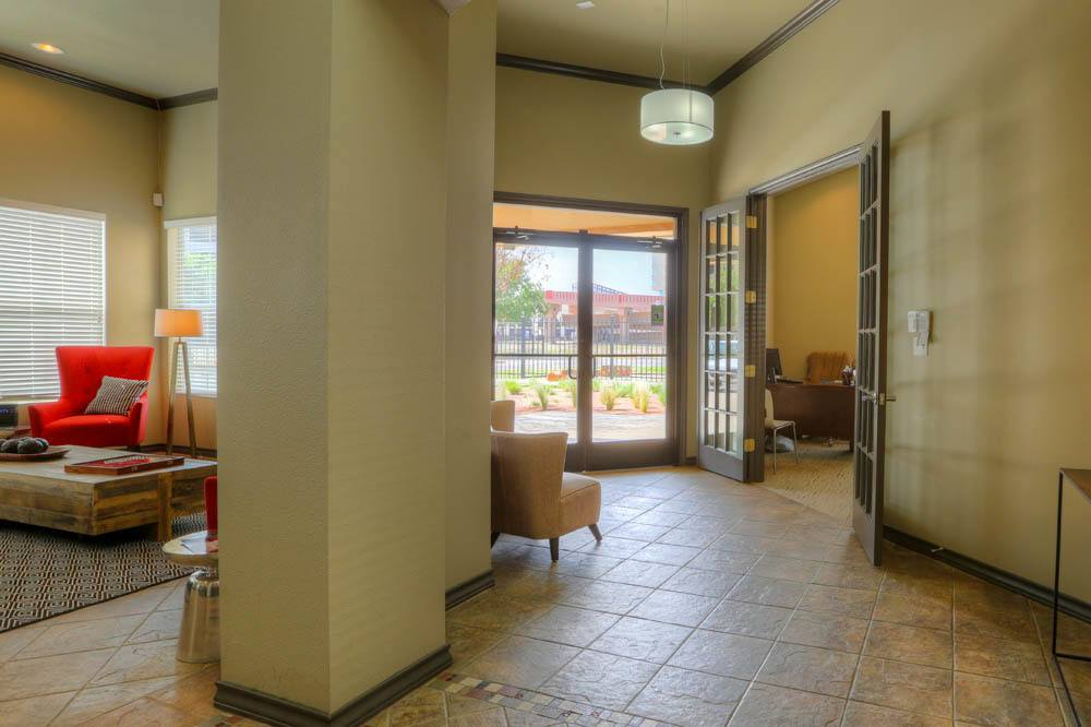 Lobby at apartments in Lubbock