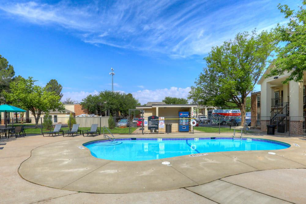 Poolside at apartments in Lubbock
