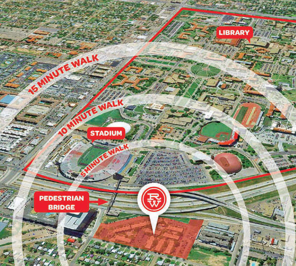 Raiders Walk Apartments proximity to campus