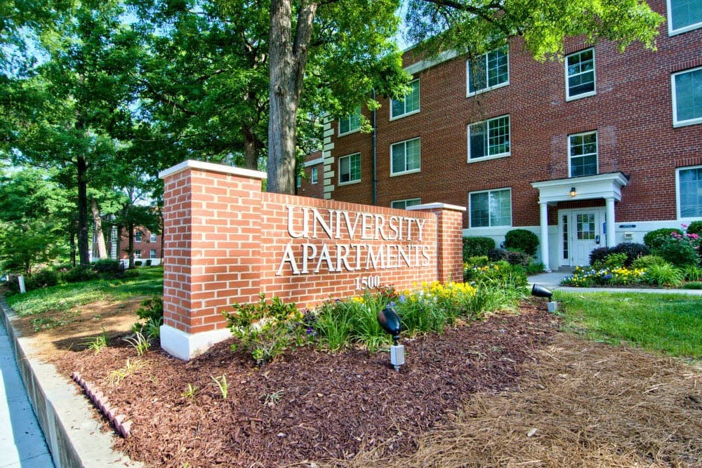 University Apartments Sign