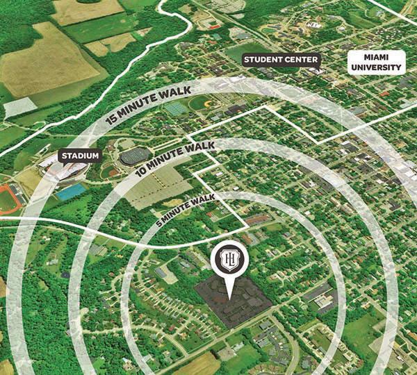 Hawks Landing proximity to campus