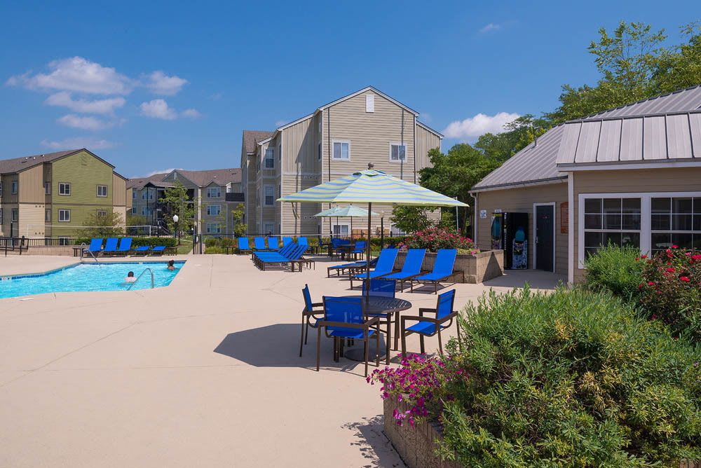 Community poolside patio at Hawks Landing in oxford