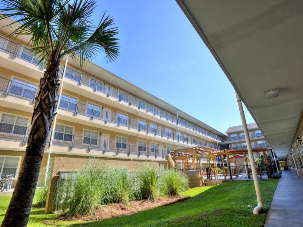 Ground view of courtyard at Legacy Student Living in Tallahassee