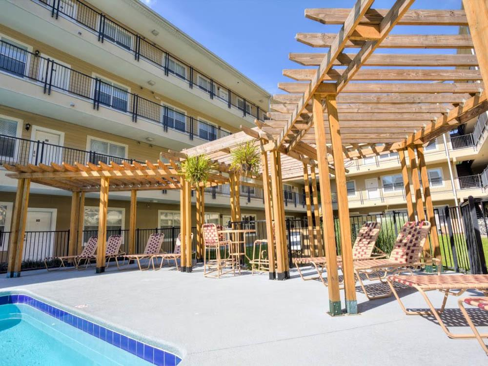 Poolside gazebo at Legacy Student Living in Tallahassee