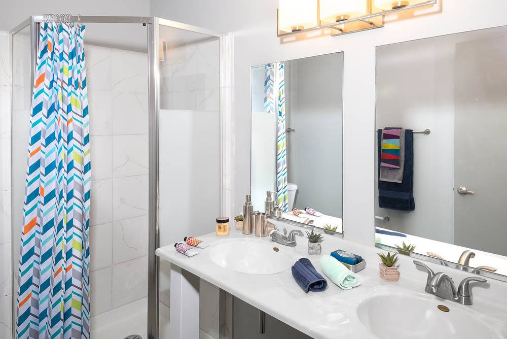 Bright bathroom at apartments in Dekalb