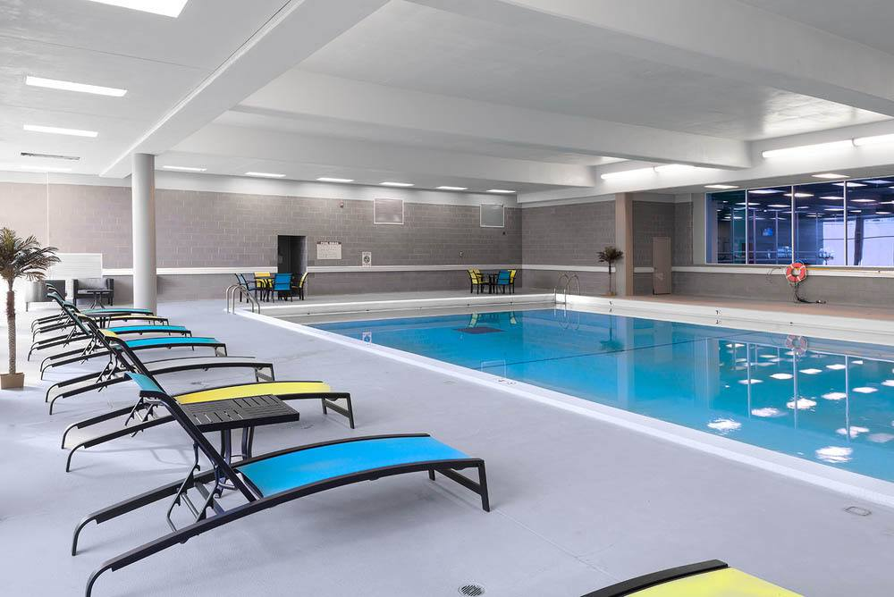 Sparkling indoor pool at Apartments in Dekalb