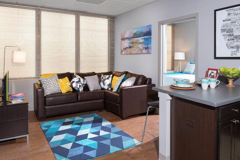 Apartments in Dekalb feature comfortable living rooms