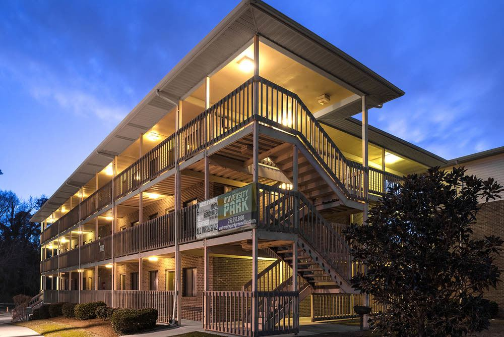 Night time at Apartments in Greenville