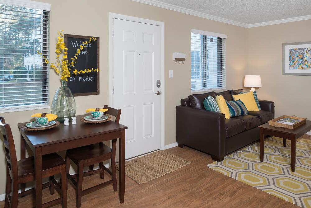 Dining and living rooms at Apartments in Greenville