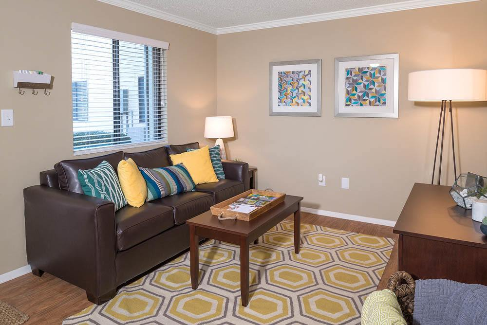Bright living room at Apartments in Greenville