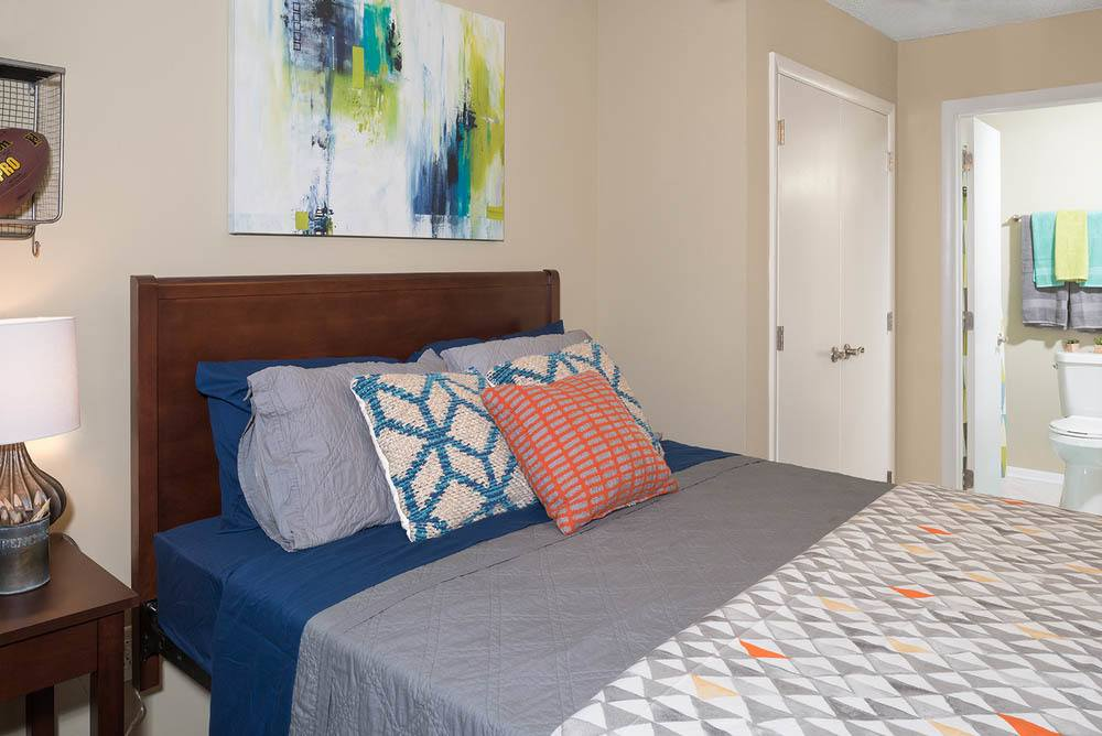 Bright bedroom at Apartments in Greenville