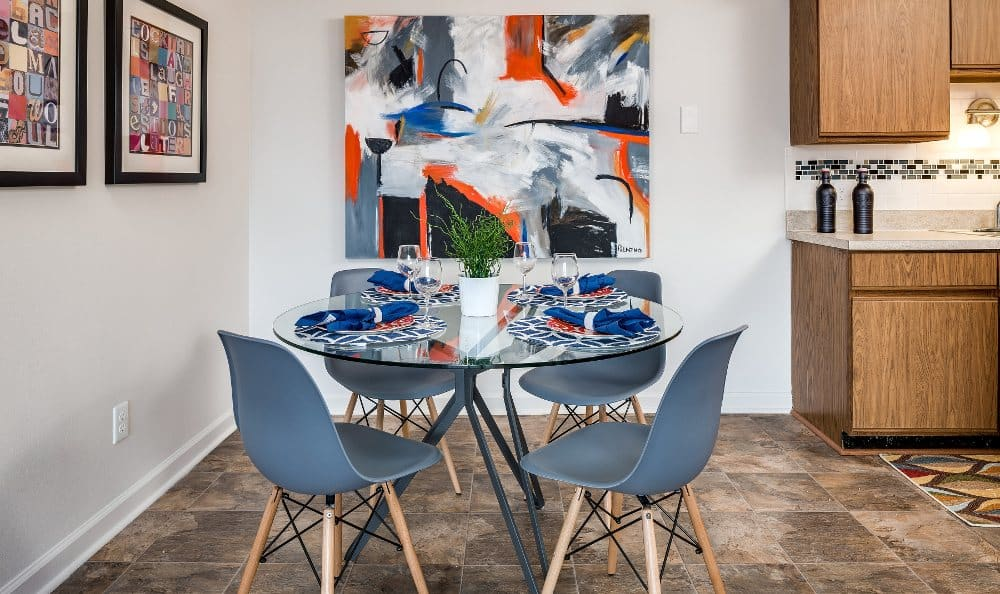 Dining area at The Trilogy Apartments in Belleville