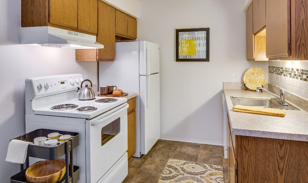 Upgraded kitchen at The Trilogy Apartments in Belleville