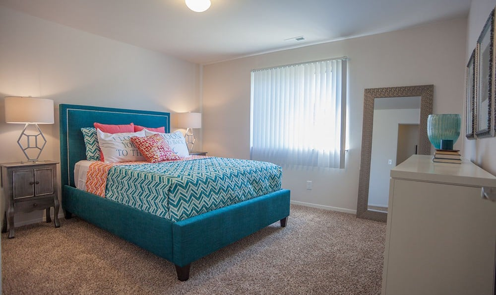 Bedroom at The Trilogy Apartments in Belleville