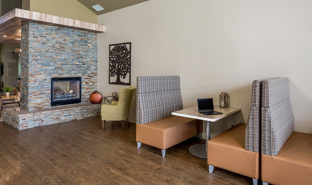Interior clubhouse view at The Trilogy Apartments in Belleville
