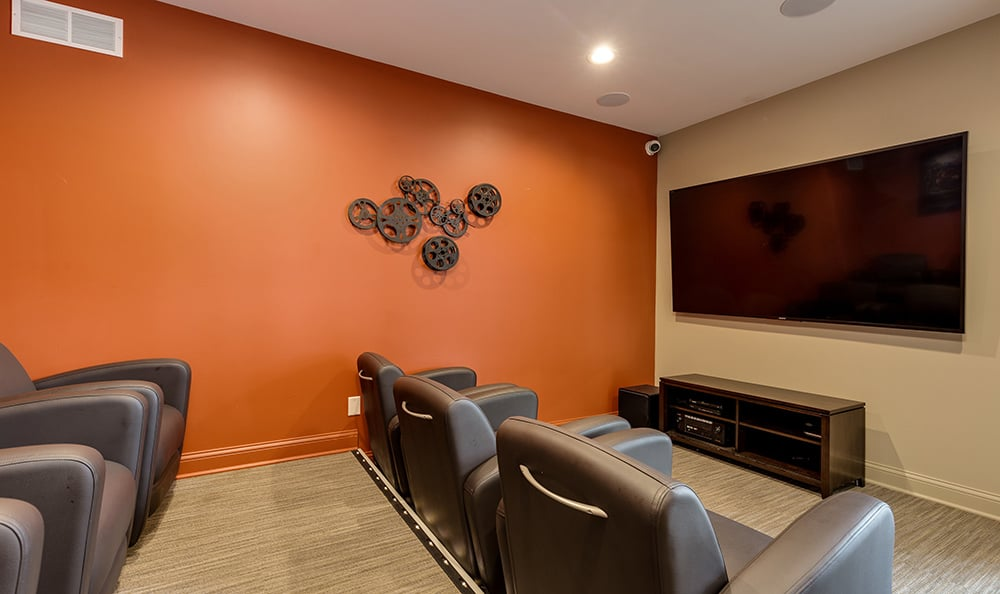 On-site movie theater at The Trilogy Apartments in Belleville, Michigan