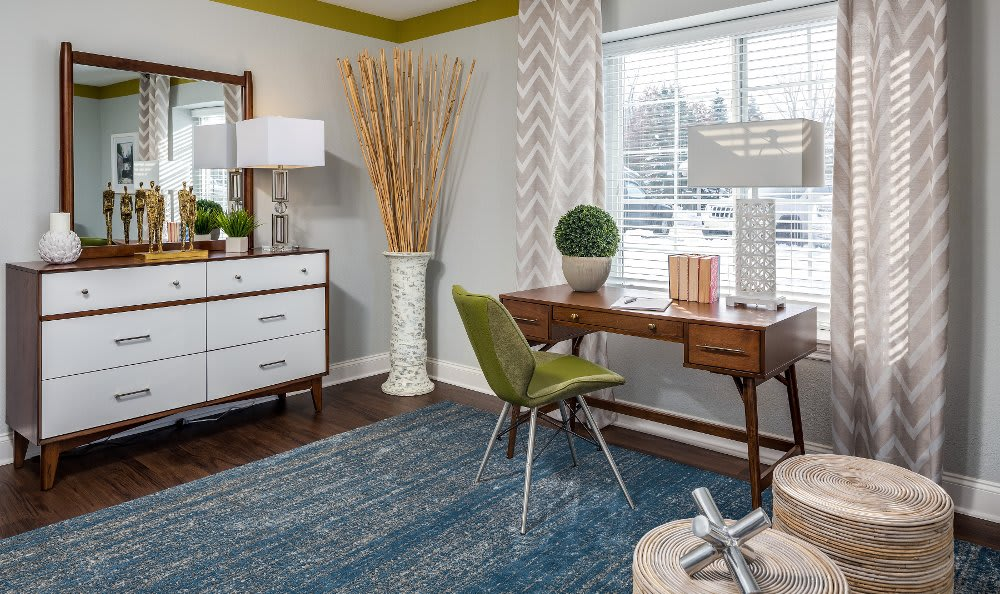 Well decorated bedroom at Auburn Gate in Auburn Hills