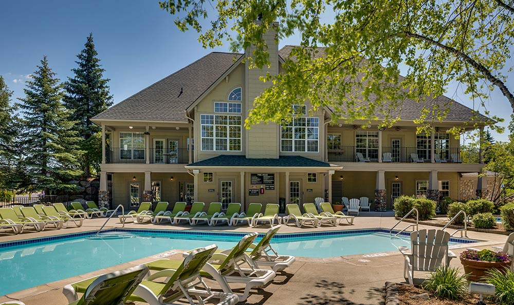 Auburn Gate clubhouse exterior view from the swimming pool