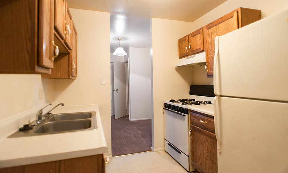 A view of the kitchen at Chapel Oaks Apartments