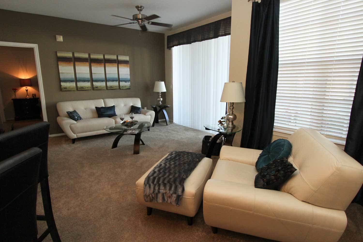 apartment living room at The Benchmark Group