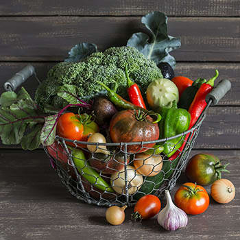 Basket of vegetables at Victory Centre of Sierra Ridge
