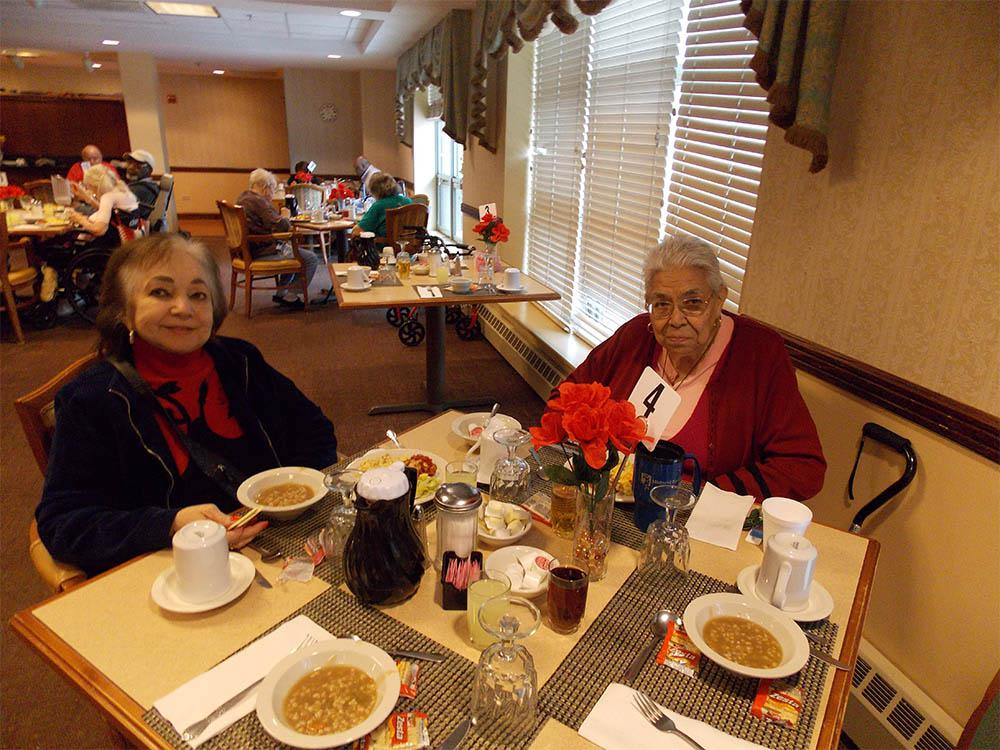 Seniors At Lunch at Victory Centre of River Woods in Melrose Park