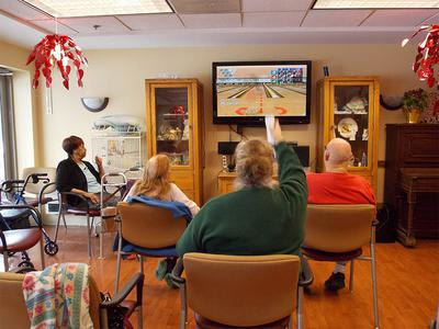 Seniors Wii Bowling at Victory Centre of River Woods in Melrose Park