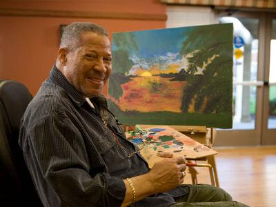 Senior Painting at Victory Centre of Sierra Ridge in Country Club Hills