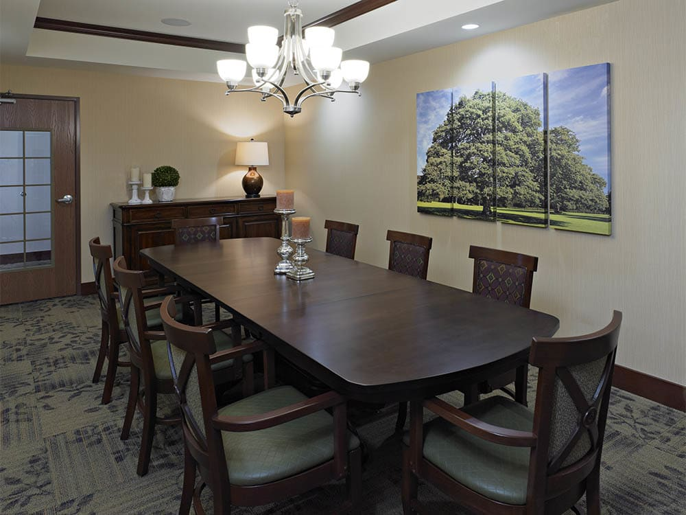 Family sized dining room at Oak Hill Supportive Living Community in Round Lake Beach, IL