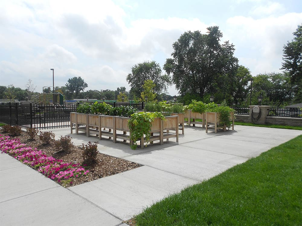 Upright planter boxes at Oak Hill Supportive Living Community