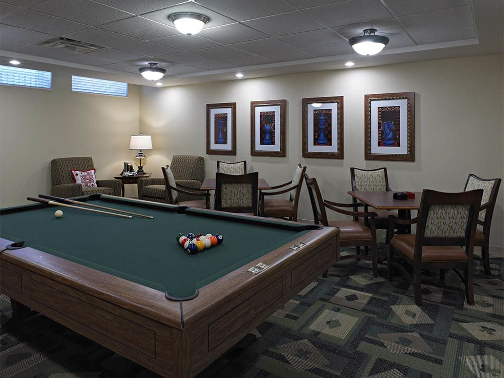 Pool table in the clubhouse at Oak Hill Supportive Living Community in Round Lake Beach IL