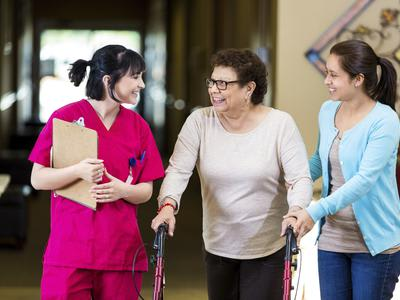 Professional staff working with our residents at Aspired Living of Westmont in Westmont, IL