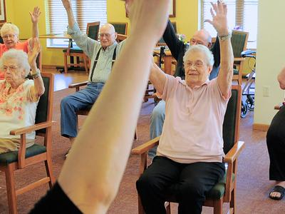 Our residents being part of our exercises at Azpira Place in Lake Zurich, IL