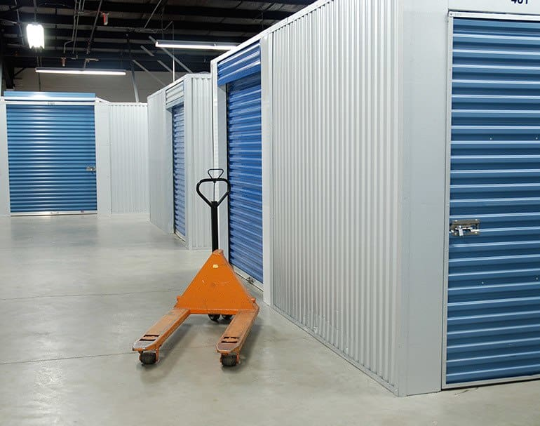 Clean and brightly lit storage at Tampa Bay Self Storage