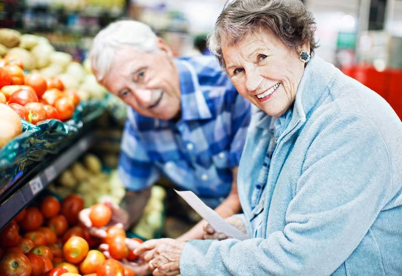 The Glenn Hopkins residents shopping for produce.