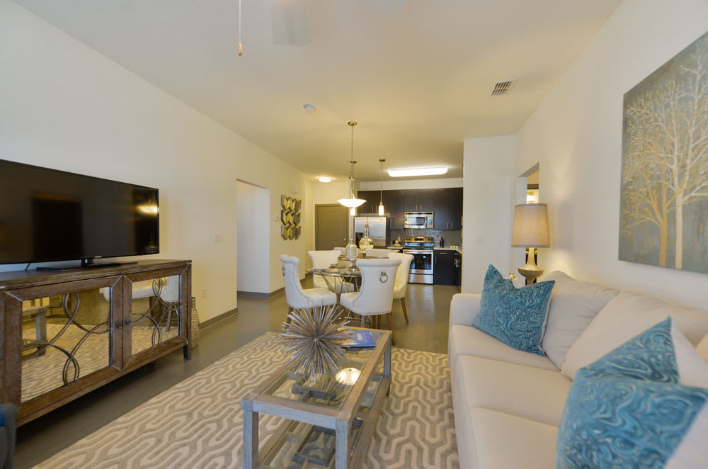 Comfortable model living room at Spyglass