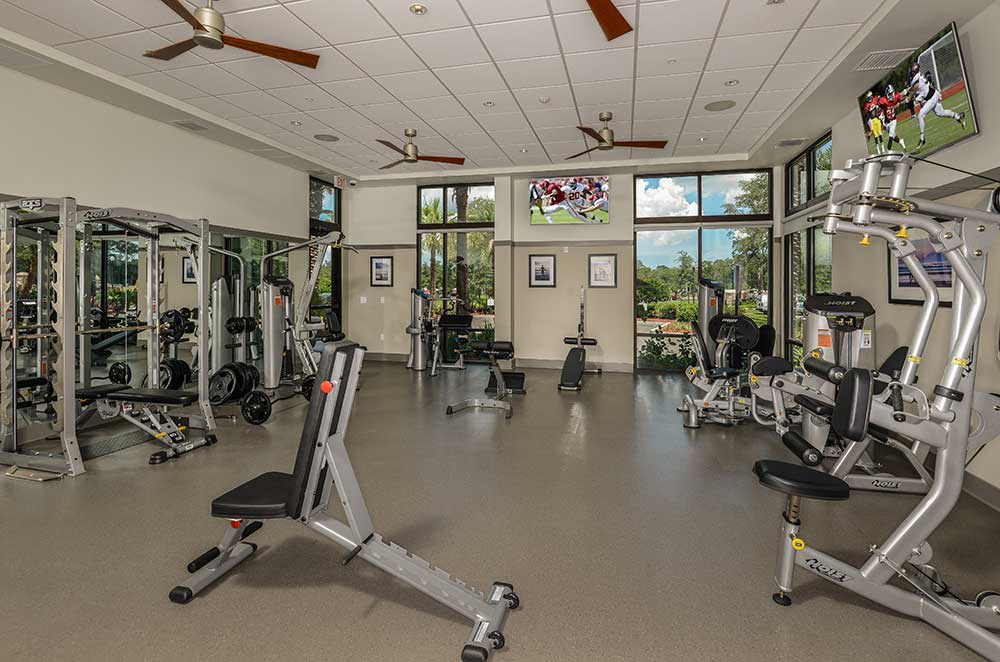 Spacious fitness center at Spyglass