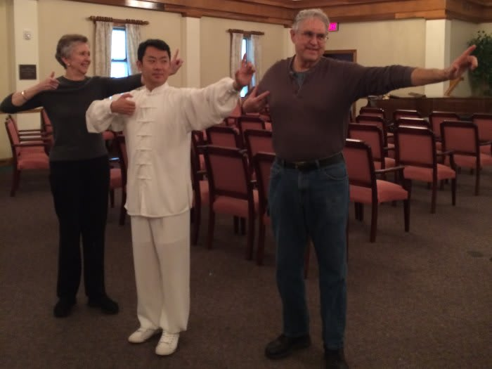 Residents practing tai chi at The Clinton Presbyterian Community