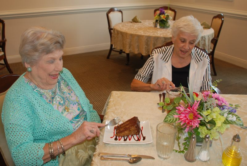 Ladies enjoying desert at The Clinton Presbyterian Community