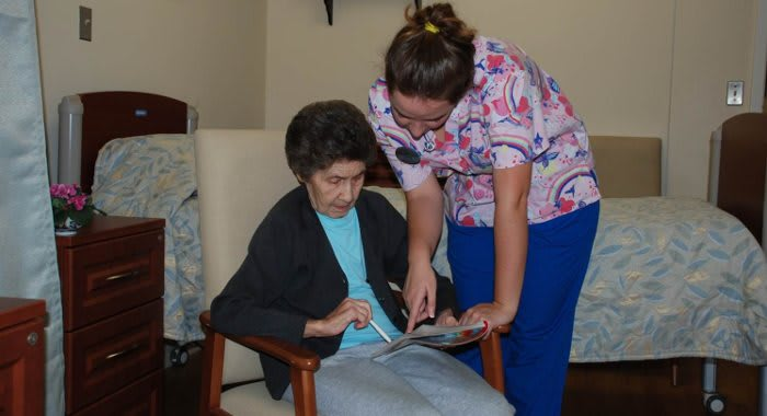 Ann in rehab unit at The Clinton Presbyterian Community