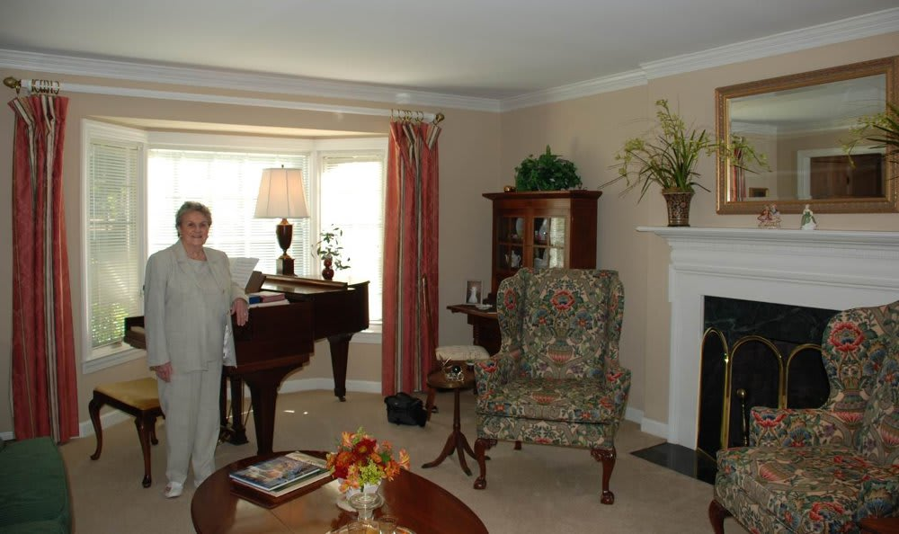 Marcia in her living room at The Clinton Presbyterian Community