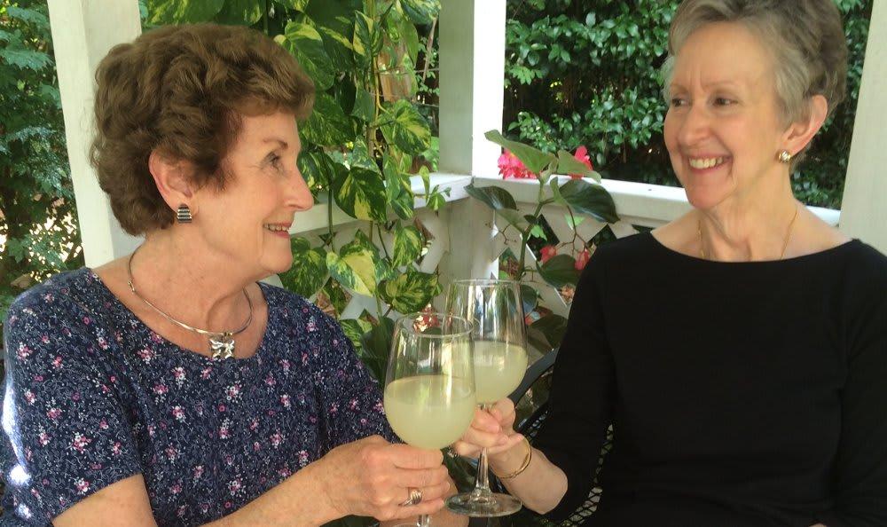 Susan and Gin enjoying lemonade at The Clinton Presbyterian Community
