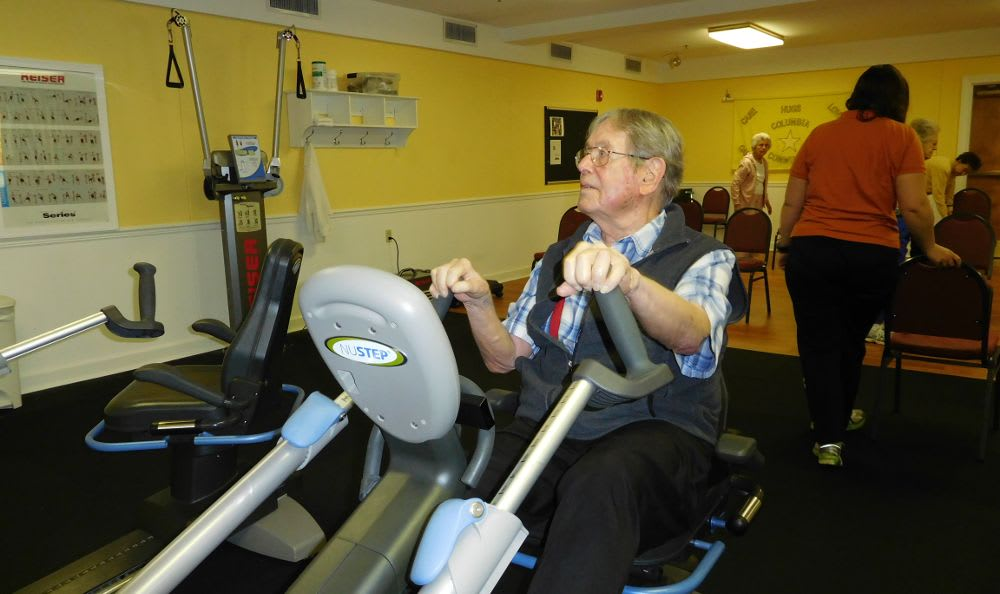 elderly man exercising at The Columbia Presbyterian Community in Lexington, SC