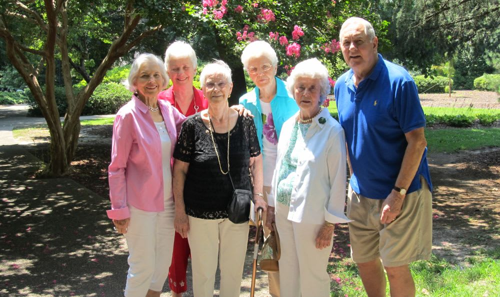 group photo in gardens at The Columbia Presbyterian Community in Lexington, SC