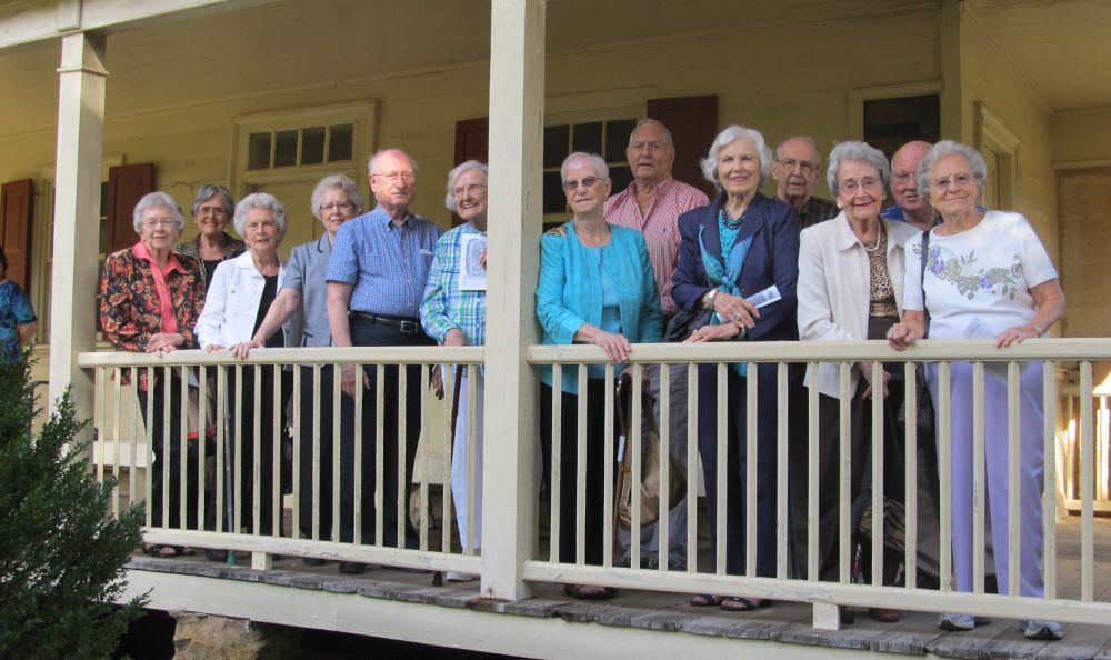group view on a porch at The Columbia Presbyterian Community in Lexington, SC