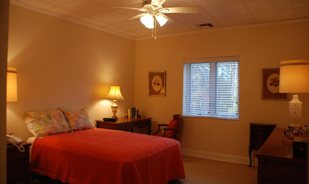 well decorated and spacious bedroom at The Columbia Presbyterian Community in Lexington, SC